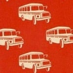 Echino Nico graphic school bus on red