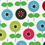 Ann Kelle Cool Cord bold mod flower on white  CORD