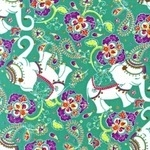 Rebekah Ginda decorative elephants on jade green  CORD