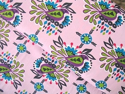 Robert Kaufman Sierra Aztec bird on pink
