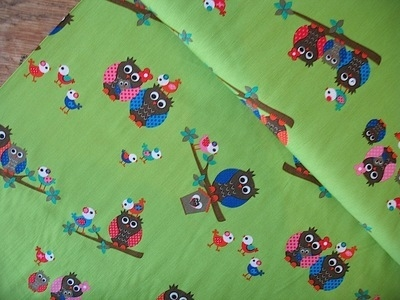 Dutch Cotton Poplin owls on green Okotex standard 100- WIDE
