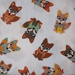 STENZO Cotton Poplin foxie foxes  Okotex standard 100- WIDE