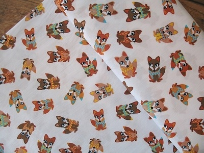Dutch Cotton Poplin foxie foxes  Okotex standard 100- WIDE