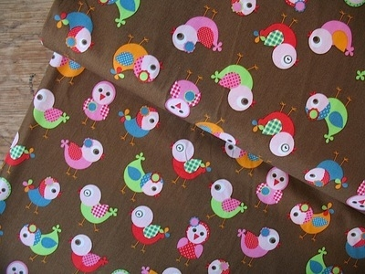 Dutch Cotton Poplin wide eyed birds Okotex standard 100- WIDE