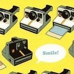 Riley Blake Geekly Chic 2 polaroid cameras on yellow