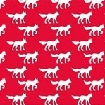 Copenhagen Print Factory ORGANIC foxes on red