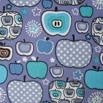 STENZO Cotton Poplin apples on purple Okotex standard 100- WIDE