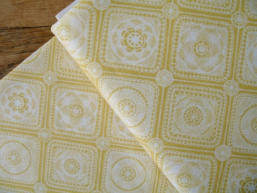 Rebecca Stoner Prairie lace tablecloth on yellow