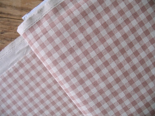 Sevenberry natural gingham print pink on heavier weight