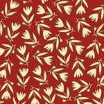 BOLT END - Carolyn Gavin Petite Fleur  tulips on red ORGANIC