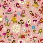 Carolyn Gavin Petite Fleur, Birds and flower head-on pink  ORGANIC