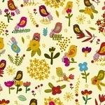 Carolyn Gavin Petite Fleur, Birds and flower head-on cream -ORGANIC