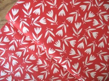 Carolyn Gavin Petite Fleur  tulips on red ORGANIC
