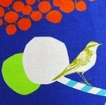 Echino Decoro birds with cherries and buds on blue