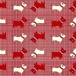 Judie Rothermel Aunt Grace miniatures 2 scottie dog on red