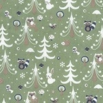 Westfalenstoffe Kitzbühel bunnies in christmas scene on sage (wide)