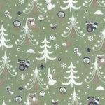 Westfalenstoffe Kitzbühel bunnies in christmas scene on sage (wide)
