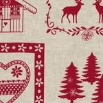 'La chateaux des Alpes' Christmas Swiss themed pure linen on natural (WIDE)