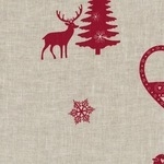 La chateaux des Alpes' Robins at Christmas pure linen on natural (WIDE)
