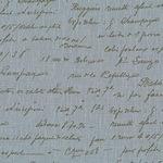 'La Couture' handwritten script in red pure linen on diesel blue (WIDE)