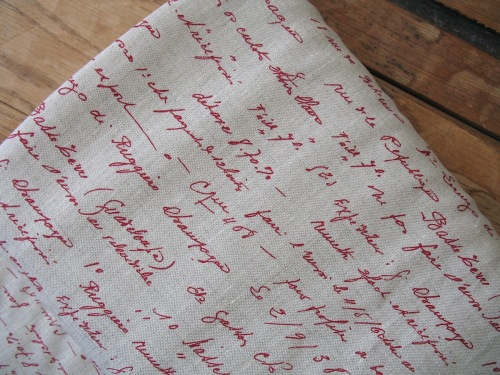 'La Couture' handwritten script in red pure linen on natural (WIDE)