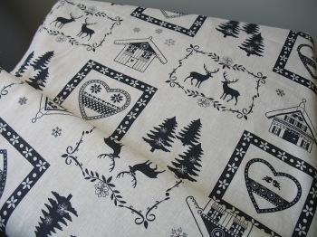 'La chateaux des Alpes' Christmas Swiss themed pure linen in black (WIDE)