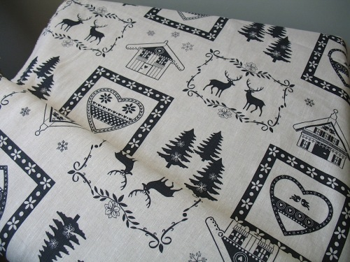 'La chateaux des Alpes' Christmas Swiss themed pure linen in black (WIDE)
