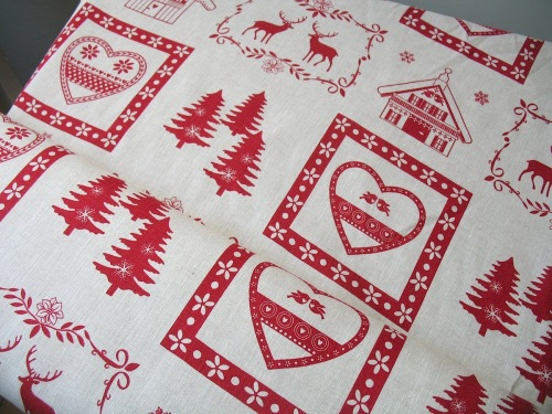 'La chateaux des Alpes' Christmas Swiss themed pure linen on natural (WIDE