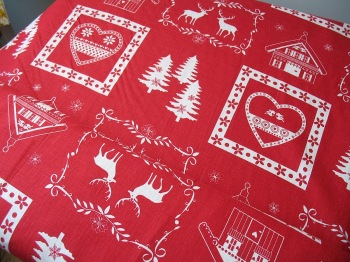 'La chateaux des Alpes' Christmas Swiss themed pure linen in red (WIDE)