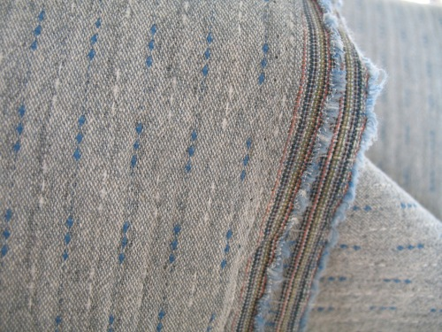 Stof Japanese Yarn dyed textured cotton rail tracks  in blue