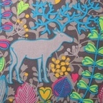 Dutch baby corduroy moose in the garden on dark mushroom WIDE
