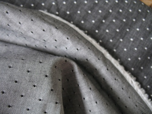 Robert Kaufman Chambray cotton dots in black (wide)