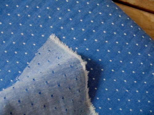 Robert Kaufman Chambray cotton dots in royal  (wide)