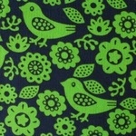 Dutch baby corduroy bird and flower silhouette in limey lime WIDE