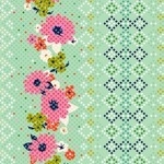 Melody Miller -MUSTANG Mint rose border print
