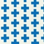 Emmie K for Robert Kaufman Geo Pop canvas blue cross