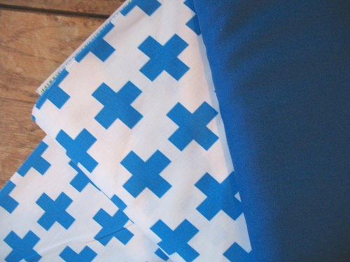 Emmie K for Robert Kaufman Geo Pop canvas blue cross