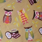 Ultimate textiles owlie family  in oranges and brown