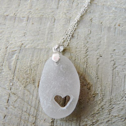 Sea Glass Tiny Heart Pendant