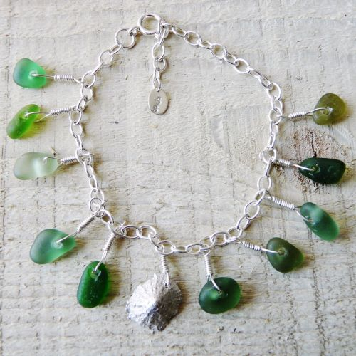 Ten Green Bottles -  Sea Glass Charm Bracelet