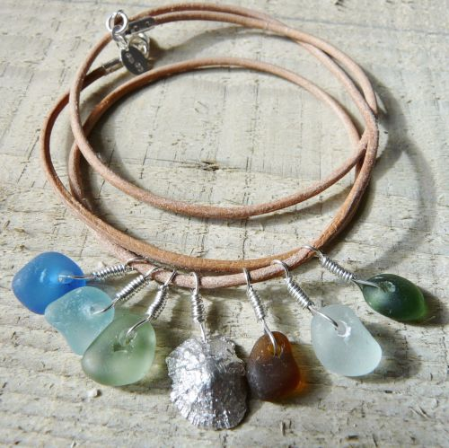 Wrap Around Leather and Sea Glass Bracelet