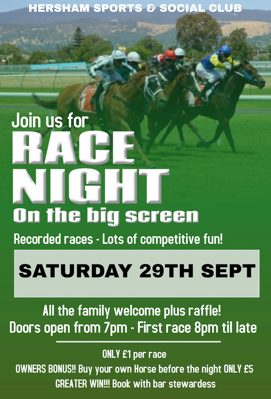 Race Night Poster - Sept