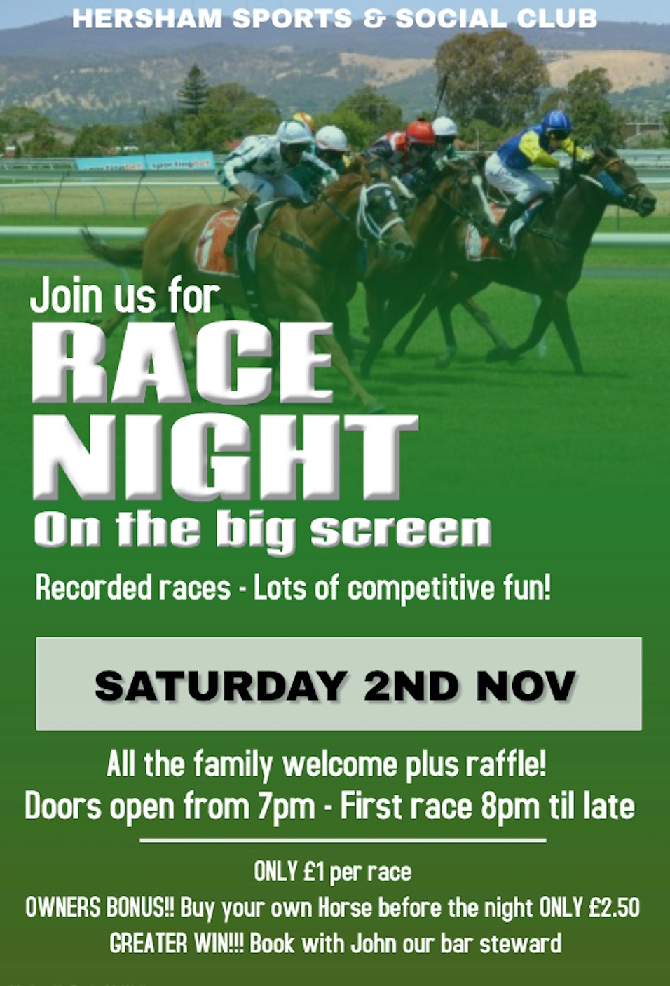 Race Night - Nov Poster