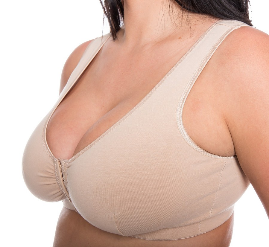 CB222N - 48 FRONT FASTENING COTTON BRAS in NUDE - only £3.90