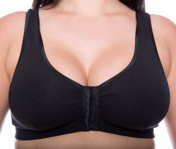 CB222B - 48 FRONT FASTENING COTTON BRAS in BLACK - only £5.20