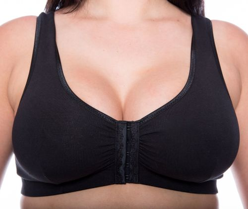CB222B - 24 FRONT FASTENING COTTON BRAS in BLACK - only £5