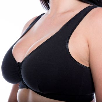 CB222B - 36 FRONT FASTENING COTTON BRAS in BLACK - only £4.80