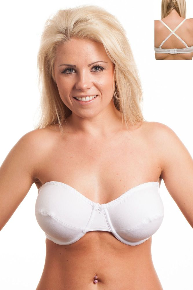 MW295 - 30 COTTON Strapless Bras - only £3.60 Each
