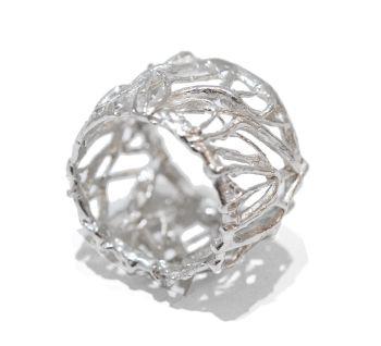 Unusual Handmade Silver Web Ring