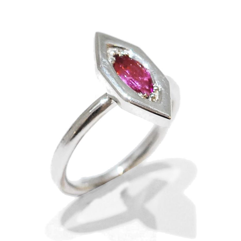 Flamingo Proposal Ring, handmade unusual pink sapphire gemstone ring
